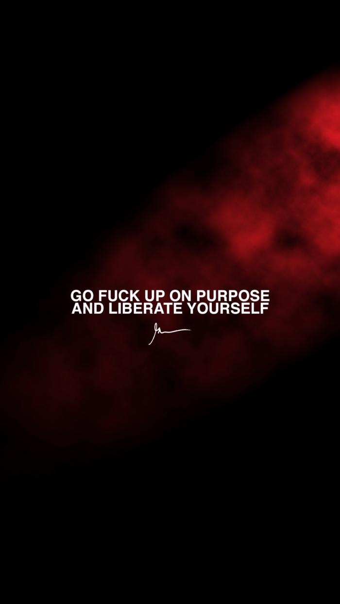 Go fuck up on purpose and liberate yourself