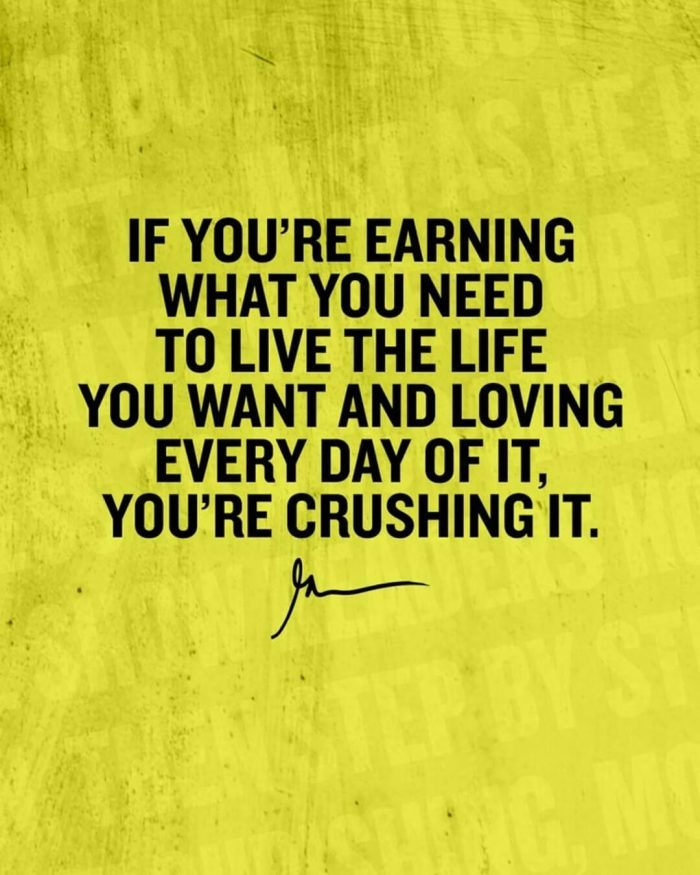 If you're earning what you need to live the life you want and loving every day of it you're crushing it